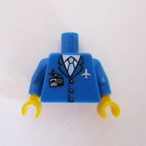 Blue Jacket w/ Tie, White Plane Pin & ID Badge