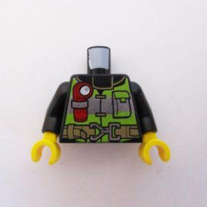 Black w/ Reflective Vest, Torch & Fire Symbol