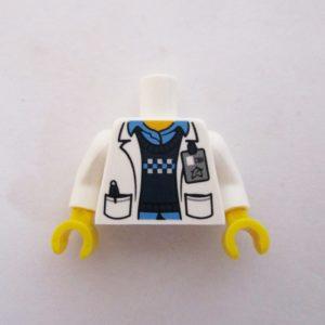 White Lab Coat w/ Pockets, Blue Shirt & Sweater