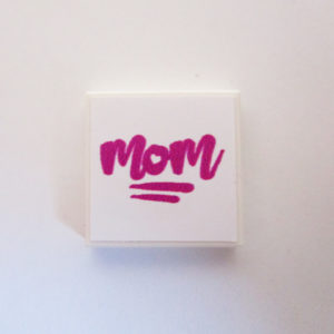White Tile w/ 'MOM' - Dark Pink