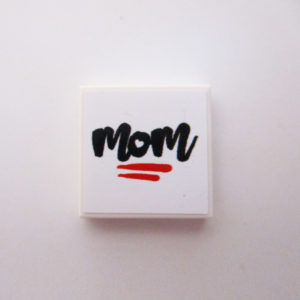 White Tile w/ 'MOM' - Black w/ Red