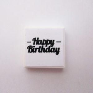 White Tile w/ 'Happy Birthday' - Black