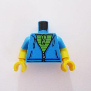 Dark Azure Blue Short Sleeves w/ Green Striped Shirt
