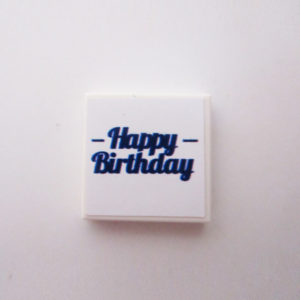 White Tile w/ 'Happy Birthday' - Dark Blue