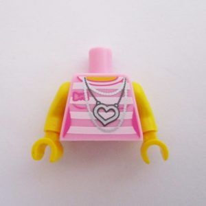 Pink w/ Stripes, Chains & Heart Necklace