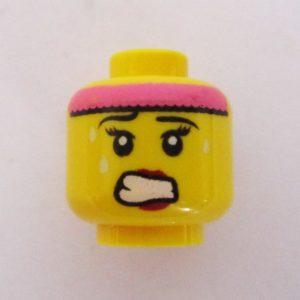 Dual Sided Head - Red Lips w/ Pink Headband & Sweat Drops