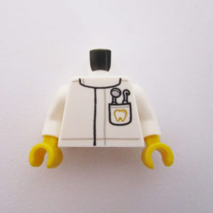 White w/ Oral Utensils In Pocket & Tooth Icon