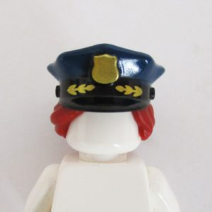 Police Hat w/ Dark Red Hair - Dark Blue