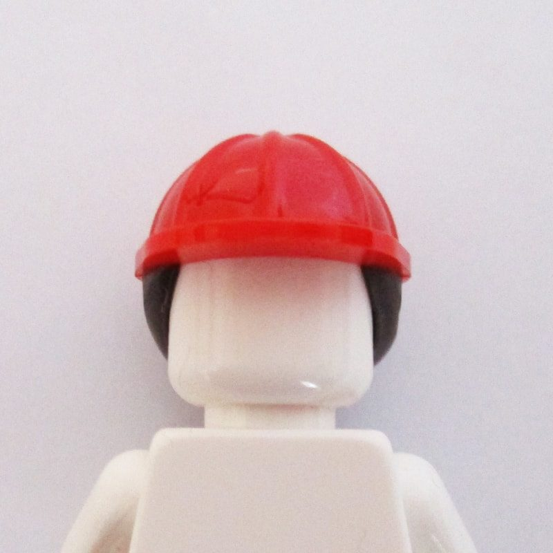 Construction Helm w/ Long Brown Hair - Red