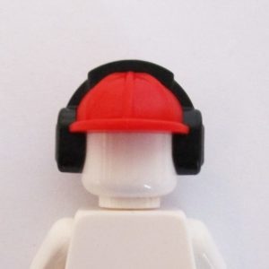 Construction Helm w/ Ear Protectors - Red