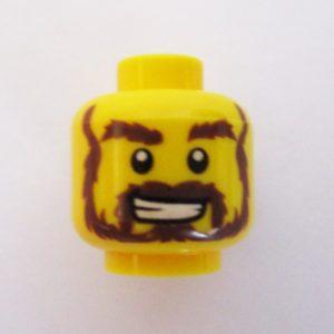 Dual Sided Head - Bushy Beard, Mustache & Sideburns w/ Big Grin