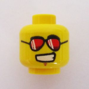 Dual Sided Head - Grin w/ Black Aviator Style Frames & Red Lenses