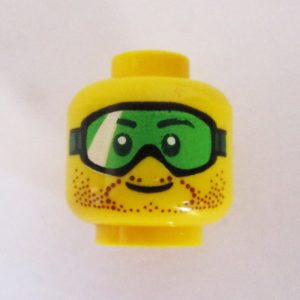 Dotted Beard & Sideburns w/ Green Extreme Sports Goggles