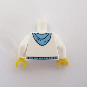 White w/ Medium Blue Pockets & Drawstring