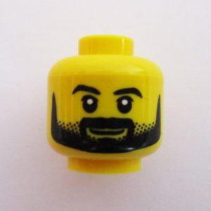 Beard, Mustache & Dotted Sideburns w/ Slight Smile
