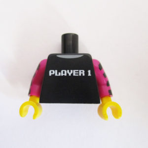 Black w/ Long Magenta Striped Sleeves & 'PLAYER 1'