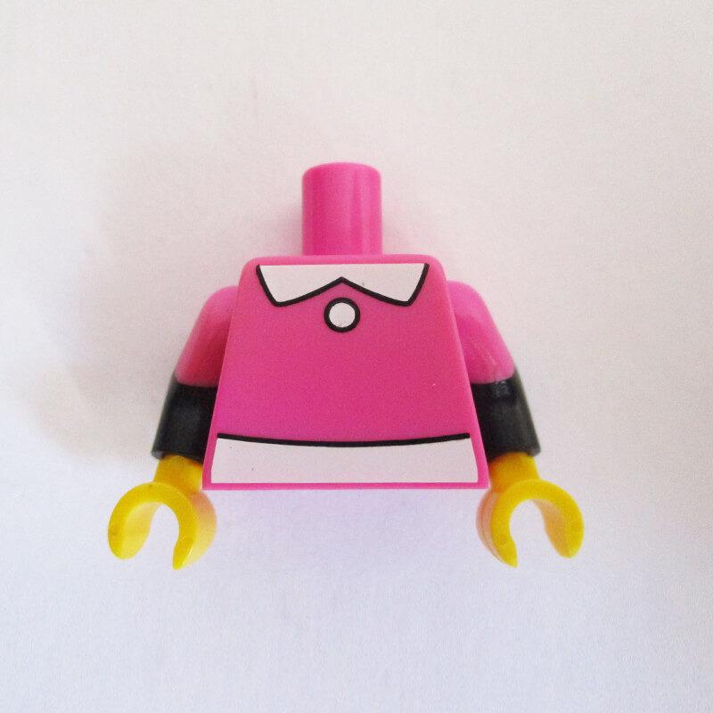 Dark Pink w/ White Collar, Belt & Black Sleeves